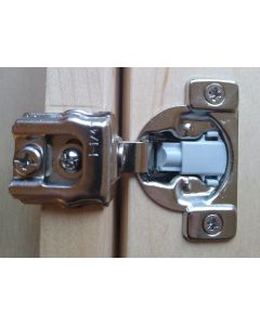 """Soft Close, Compact , 1-1/4"""" Overlay, Face Frame Hinge, 105-degree opening, 7/16"""" cup depth, Press in Dowel"""