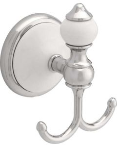 """Polished Chrome & White 3-3/32"""" [79.50MM] Robe Hook by Liberty - 126643"""