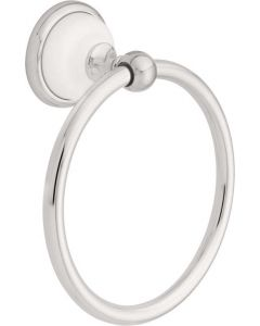"""Polished Chrome & White 6-11/16"""" [170.00MM] Towel Ring by Liberty - 126882"""