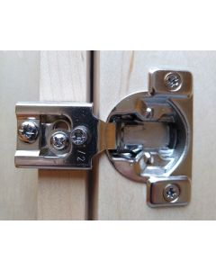 "Self Close Compact, 1/2"" Overlay, Face Frame Hinge, 105-degree opening, 7/16"" cup depth, Wood screw mount"