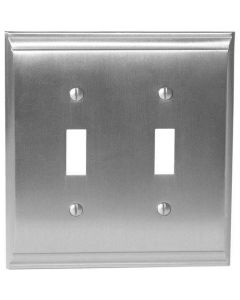 "Satin Nickel 8-9/32"" [210.06MM] 2 Toggle Wall Plate by Amerock sold in Each - 36501-G10"