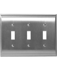"Satin Nickel 9-27/32"" [250.00MM] 3 Toggle Wall Plate by Amerock sold in Each - 36502-G10"