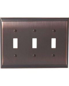 "Oil Rubbed Bronze 9-27/32"" [250.00MM] 3 Toggle Wall Plate by Amerock sold in Each - 36502-ORB"