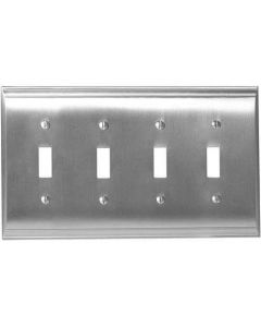 "Satin Nickel 11-5/8"" [294.90MM] 4 Toggle Wall Plate by Amerock sold in Each - 36503-G10"