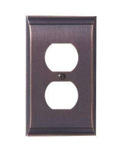 "Oil Rubbed Bronze 7-9/32"" [185.00MM] 2 Plug Outlet Wall Plate by Amerock sold in Each - 36508-ORB"
