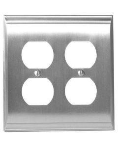 "Satin Nickel 8-9/32"" [210.06MM] 4 Plug Outlet Wall Plate by Amerock sold in Each - 36509-G10"