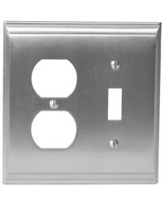 "Satin Nickel 8-9/32"" [210.06MM] 1 Toggle 2 Plug Wall Plate by Amerock sold in Each - 36510-G10"