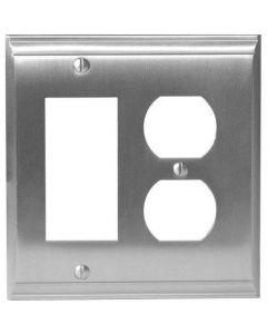 """Satin Nickel 8-9/32"""" [210.06MM] 1 Rocker 2 Plug Wall Plate by Amerock sold in Each - 36511-G10"""