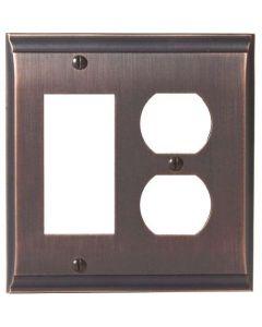 """Oil Rubbed Bronze 8-9/32"""" [210.06MM] 1 Rocker 2 Plug Wall Plate by Amerock sold in Each - 36511-ORB"""
