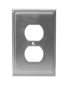 "Satin Nickel 7-9/32"" [185.00MM] 2 Plug Outlet Wall Plate by Amerock sold in Each - 36522-G10"