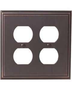 "Oil Rubbed Bronze 8-9/32"" [210.06MM] 4 Plug Outlet Wall Plate by Amerock sold in Each - 36523-ORB"