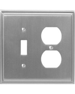 "Satin Nickel 8-9/32"" [210.06MM] 1 Toggle 2 Plug Wall Plate by Amerock sold in Each - 36524-G10"