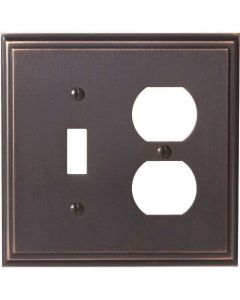 "Oil Rubbed Bronze 8-9/32"" [210.06MM] 1 Toggle 2 Plug Wall Plate by Amerock sold in Each - 36524-ORB"