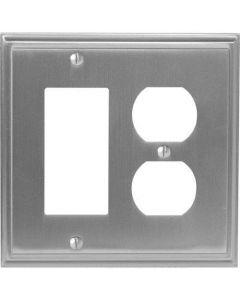 """Satin Nickel 8-9/32"""" [210.06MM] 1 Rocker 2 Plug Wall Plate by Amerock sold in Each - 36525-G10"""