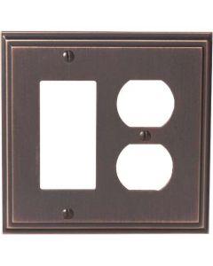 """Oil Rubbed Bronze 8-9/32"""" [210.06MM] 1 Rocker 2 Plug Wall Plate by Amerock sold in Each - 36525-ORB"""
