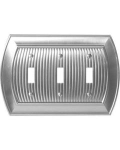 "Satin Nickel 9-27/32"" [250.00MM] 3 Toggle Wall Plate by Amerock sold in Each - 36530-G10"