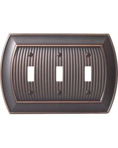 "Oil Rubbed Bronze 9-27/32"" [250.00MM] 3 Toggle Wall Plate by Amerock sold in Each - 36530-ORB"