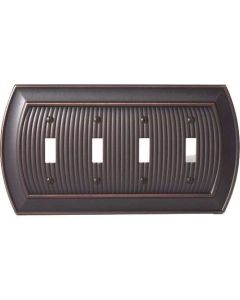 "Oil Rubbed Bronze 11-5/8"" [294.90MM] 4 Toggle Wall Plate by Amerock sold in Each - 36531-ORB"