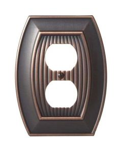 "Oil Rubbed Bronze 7-9/32"" [185.00MM] 2 Plug Outlet Wall Plate by Amerock sold in Each - 36536-ORB"