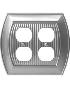 "Satin Nickel 8-9/32"" [210.06MM] 4 Plug Outlet Wall Plate by Amerock sold in Each - 36537-G10"