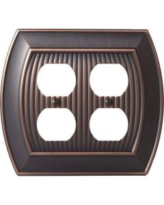 "Oil Rubbed Bronze 8-9/32"" [210.06MM] 4 Plug Outlet Wall Plate by Amerock sold in Each - 36537-ORB"