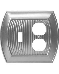 "Satin Nickel 8-9/32"" [210.06MM] 1 Toggle 2 Plug Wall Plate by Amerock sold in Each - 36538-G10"