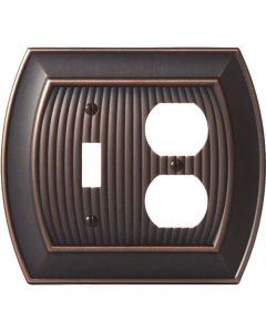 "Oil Rubbed Bronze 8-9/32"" [210.06MM] 1 Toggle 2 Plug Wall Plate by Amerock sold in Each - 36538-ORB"