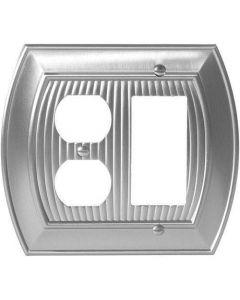 """Satin Nickel 8-9/32"""" [210.06MM] 1 Rocker 2 Plug Wall Plate by Amerock sold in Each - 36539-G10"""