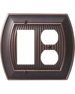 "Oil Rubbed Bronze 8-9/32"" [210.06MM] 1 Rocker 2 Plug Wall Plate by Amerock sold in Each - 36539-ORB"