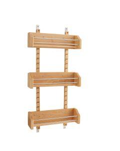 "Adjustable Door Mount Spice Rack with 3 Bins for 18"" Wall Cabinet Natural 4ASR-18"