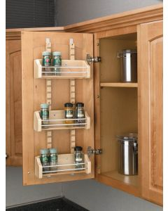 """Adjustable Door Mount Spice Rack with 3 Bins for 18"""" Wall Cabinet Natural"""