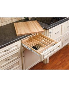 """Combination Knife Holder/ Cutting Board for 21"""" Base Cabinet Natural"""