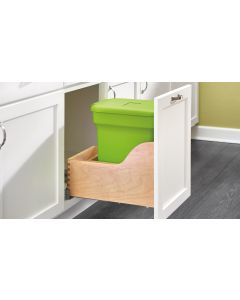 Bottom Mount Single Compost Container in Wood Frame with Blum® Soft-Close Slides