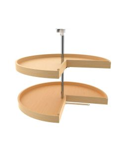 "31"" Pie-Cut Wood Lazy Susan - 2 Shelf Set With Hardware Natural, SKU: 4WLS942-31-52"