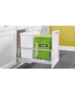 DOUBLE BOTTOM MOUNT WASTE PULLOUT WITH COMPOST CONTAINER IN Aluminum Frame with Soft-Close Slides