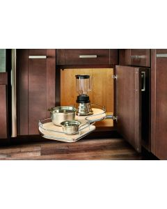 """Grey Right-Handed Soft-Close BM Single-Tier Organizer for Blind Corner Cabinets With 15"""" Opening"""