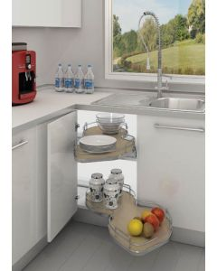 """Maple Right-Handed Soft-Close BM Single-Tier Organizer for Blind Corner Cabinets With 15"""" Opening Natural"""