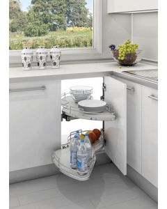 "Grey Right-Handed Soft-Close Two-Tier Organizer for Blind Corner Cabinets With 18"" Opening"