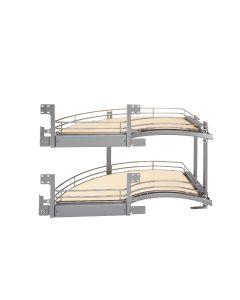 2-Tray Chrome Left DM Curve With Back Mounting Hardware Maple Base, SKU: 582-18-LMP