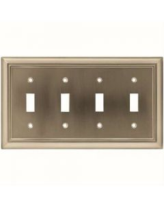 "Satin Nickel 5-3/16"" [132.00MM] 4 Toggle Wall Plate by Brainerd sold in Each - 64169"