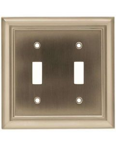 "Satin Nickel 6-11/16"" [170.00MM] 2 Toggle Wall Plate by Brainerd sold in Each - 64208"