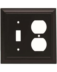 "Flat Black 7-1/2"" [190.50MM] 1 Toggle 2 Plug Wall Plate by Brainerd sold in Each - 64213"