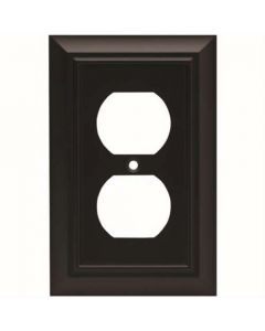 "Flat Black 6"" [152.50MM] 2 Plug Outlet Wall Plate by Brainerd sold in Each - 64218"
