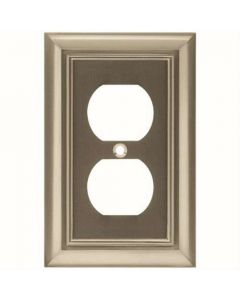 "Satin Nickel 7-1/2"" [190.50MM] 2 Plug Outlet Wall Plate by Brainerd sold in Each - 64234"