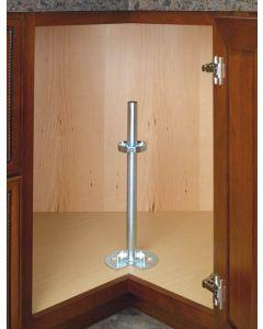 Two Shelf Lazy Susan Bottom Mount Post Hardware With Chrome hubs for Wood Shelves Zinc