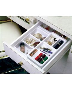 """18"""" Base Cosmetic Tray with 6"""" Roll Tray  Glossy White"""