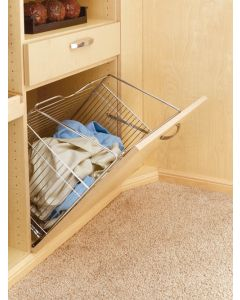 Closet Tilt Out Hamper Basket Satin Nickel
