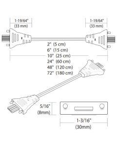 """Tresco Eurolinx White Linking cord 24""""  - 12V"""