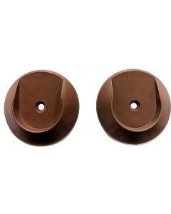 "Dark Brown Plastic Round Closet Rod Rod Holder Pair Screw Mounted 1-1/2"" Diameter"