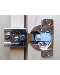 "Soft Close Compact , 1/2"" Overlay, Face Frame Hinge, 105-degree opening, 7/16"" cup depth, Wood Screw mount"